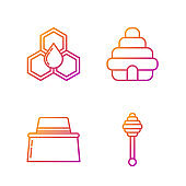 Set line Honey dipper stick, Beekeeper with protect hat, Honeycomb and Hive for bees. Gradient color icons. Vector