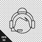 Black line Woman with a headset icon isolated on transparent background. Support operator in touch. Concept for call center, client support service.  Vector Illustration