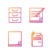 Set line File document and paper clip, File document, Drawer with documents and Blank notebook and pen. Gradient color icons. Vector