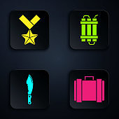 Set Military ammunition box, Military reward medal , Military knife and Detonate dynamite bomb stick. Black square button. Vector