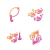 Set line Fish, Fishing hook under water with fish, Fishing spoon and Fish. Gradient color icons. Vector