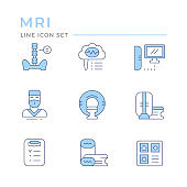 Set color line icons of magnetic resonance imaging