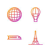 Set line Eiffel tower, Train, Earth globe and Hot air balloon. Gradient color icons. Vector