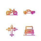 Set line Car, Old retro vintage plane, Bicycle and Sedan car. Gradient color icons. Vector