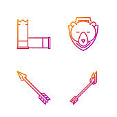 Set line Flame arrow, Hipster arrow, Cartridges and Bear head on shield. Gradient color icons. Vector