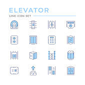 Set color line icons of elevator