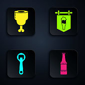 Set Beer bottle, Chicken leg, Bottle opener and Street signboard with glass of beer. Black square button. Vector