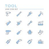 Set color line icons of electric and hand tool