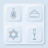 Set line Hanukkah dreidel, Jewish sweet bakery, Star of David and Jewish goblet. White square button. Vector
