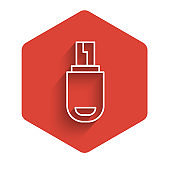 White line USB flash drive icon isolated with long shadow. Red hexagon button. Vector Illustration