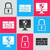 Set Lock , Firewall, security wall and Computer monitor and shield icon. Vector