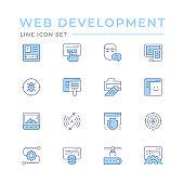 Set color line icons of web development