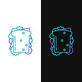Green and purple line Sandwich icon isolated on white and black background. Hamburger icon. Burger food symbol. Cheeseburger sign. Street fast food menu. Vector Illustration