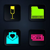 Set Ticket with heart, Glass of champagne, Envelope with Valentine heart and Grand piano. Black square button. Vector
