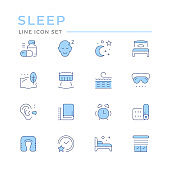 Set color line icons of sleep