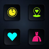 Set Woman dress, Clock, Heart and Location with heart. Black square button. Vector