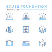 Set color line icons of house foundation
