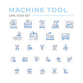 Set icons of machine tool, robotic industry