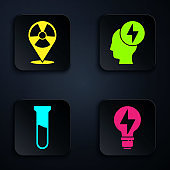 Set Light bulb with lightning, Radioactive in location, Test tube and flask and Head and electric symbol. Black square button. Vector