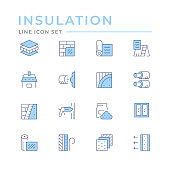 Set color line icons of insulation