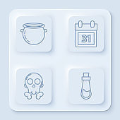 Set line Halloween witch cauldron , Calendar with Halloween date 31 october , Skull on crossbones and Bottle with potion . White square button. Vector