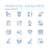Set color line icons of medical analysis