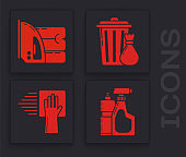 Set Plastic bottles for liquid dishwashing liquid, Electric iron and towel , Trash can and garbage bag and Cleaning service icon. Vector