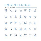 Set color line icons of engineering