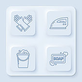 Set line Rubber gloves , Electric iron , Bucket with foam and bubbles and Bar of soap with foam . White square button. Vector