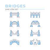 Set color line icons of bridges