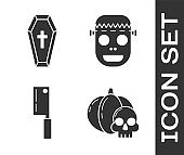 Set Pumpkin and skull , Coffin with christian cross , Meat chopper and Zombie mask icon. Vector