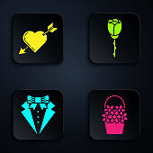 Set Flowers in a basket, Amour symbol with heart and arrow, Suit and Flower rose. Black square button. Vector