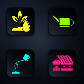 Set Farm house, Watering plant, Watering can with water and Watering can. Black square button. Vector