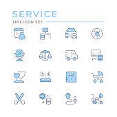Set color line icons of services