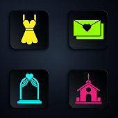 Set Church building, Woman dress, Wedding arch and Envelope with Valentine heart. Black square button. Vector
