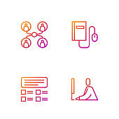 Set line Student working at laptop, Online quiz, test, survey, class and Electronic book with mouse. Gradient color icons. Vector