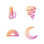 Set line Moon and stars, Rainbow with clouds, Thermometer and Tornado. Gradient color icons. Vector