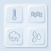 Set line Thermometer, Waves, Cloud with rain and Water drop. White square button. Vector