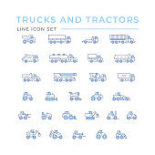 Set color line icons of trucks and tractors