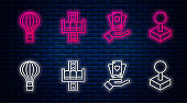 Set line Attraction carousel, Hand holding playing cards, Hot air balloon and Joystick for arcade machine. Glowing neon icon on brick wall. Vector