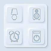 Set line Table lamp , Stereo speaker , Alarm clock and Remote control. White square button. Vector