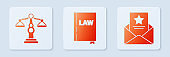 Set Law book, Scales of justice and The arrest warrant. White square button. Vector