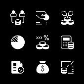 Set glyph icons of investment