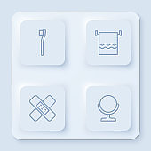 Set line Toothbrush, Towel on a hanger, Crossed bandage plaster and Round makeup mirror. White square button. Vector
