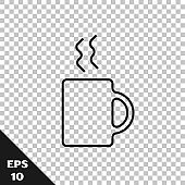 Black line Coffee cup icon isolated on transparent background. Tea cup. Hot drink coffee.  Vector Illustration