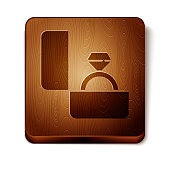 Brown Diamond engagement ring icon isolated on white background. Wooden square button. Vector Illustration
