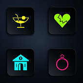 Set Diamond engagement ring, Cocktail, Church building and Broken heart or divorce. Black square button. Vector