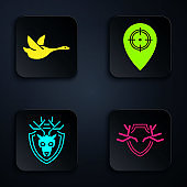 Set Deer antlers on shield, Flying duck, Deer head with antlers on shield and Hunt place. Black square button. Vector