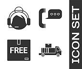 Set Delivery truck with cardboard boxes, Support operator in touch, Cardboard box with free symbol and Telephone with speech bubble chat icon. Vector
