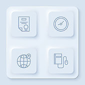 Set line Certificate template, Clock, Location on the globe and Electronic book with mouse. White square button. Vector